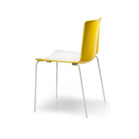 Pedrali Tweet kollane valge plastik iste klienditool köögitool kohvikutool metallist jalad Itaalia