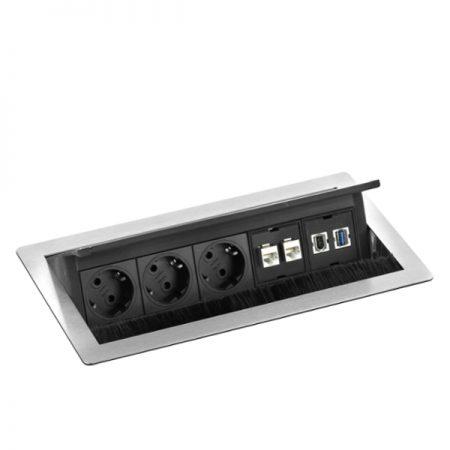 Evoline FlipTop Push pistikupesade komplekt Ergonomik USB pesa HDMI võrgukaabel internetikaabel
